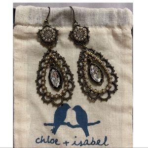 Chloe + Isabel Pearl and Crystal Filigree Earrings